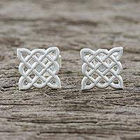 Sterling silver stud earrings, 'Thatched Box' - Handmade 925 Sterling Silver Button Earrings Woven Square