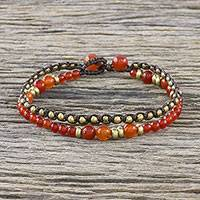 Quartz beaded bracelet, 'Evermore' - Double Strand Orange Quartz Beaded Macrame Bracelet