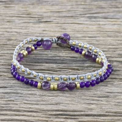 Amethyst and dyed quartz beaded bracelet, 'Evermore' - Amethyst and Purple Quartz Beaded Macrame Bracelet