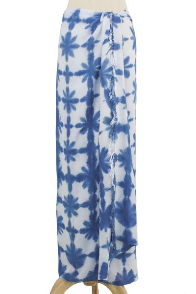 Unisex Handmade Rayon Tie Dye Sarong in Denim Blue