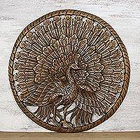 Teakwood relief panel, 'Great Peacock' - Hand-Carved Teakwood Peacock Relief Panel from Thailand