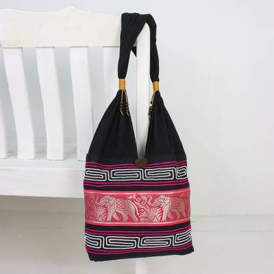 Cotton blend shoulder bag, 'Thai Elephants in Ruby' - Elephant Cotton Blend Shoulder Bag in Ruby from Thailand