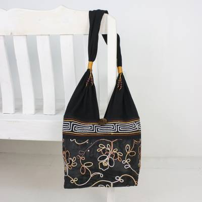 Cotton shoulder bag, 'Floral Nighttime' - Floral Cotton Shoulder Bag from Thailand
