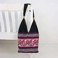 Cotton blend shoulder bag, 'Thai Flora' - Pink Floral Cotton Blend Shoulder Bag from Thailand