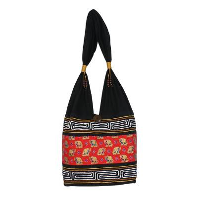 Black and Crimson Cotton Blend Shoulder Bag from Thailand