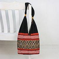 Cotton blend shoulder bag, 'Charming Thai in Paprika' - Floral Cotton Blend Shoulder Bag in Paprika from Thailand
