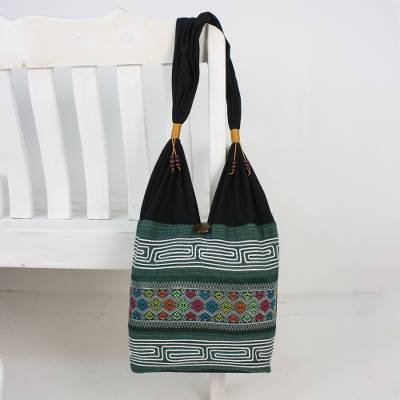 Cotton blend shoulder bag, 'Thai Mood' - Colorful Cotton Blend Shoulder Bag from Thailand