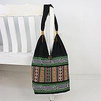 Cotton shoulder bag, 'Thai Hillside' - Embroidered Multicolored Cotton Shoulder Bag from Thailand