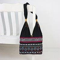 Cotton blend shoulder bag, 'Exotic Embroidery' - Cotton Blend Shoulder Bag with Pink Stripes from Thailand