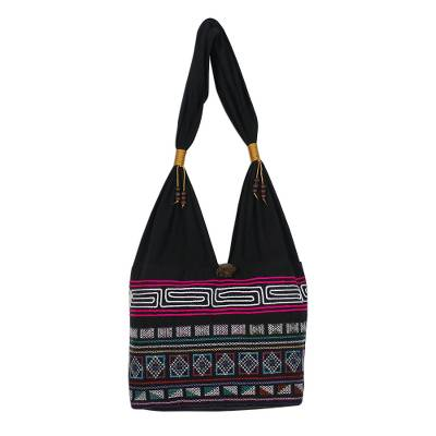 Cotton Blend Shoulder Bag with Pink Stripes from Thailand