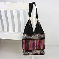 Cotton blend shoulder bag, 'Sophisticated Zigzag' - Zigzag Motif Cotton Blend Shoulder Bag from Thailand