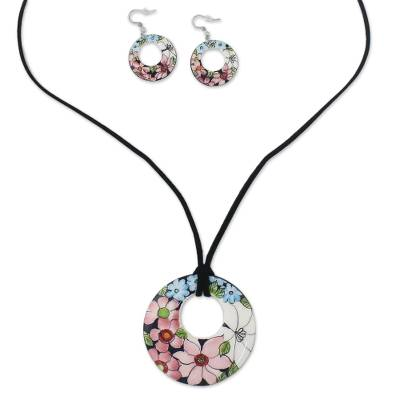 Ceramic Floral Pendant Necklace and Earrings Jewelry Set