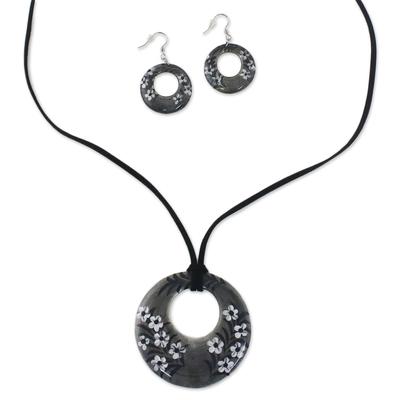 Ceramic Black Floral Pendant Necklace Dangle Earrings Set