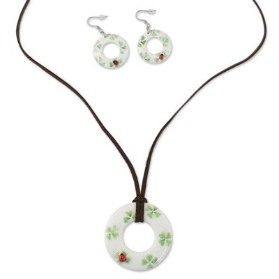 Ceramic White Ladybug Pendant Necklace Dangle Earrings Set