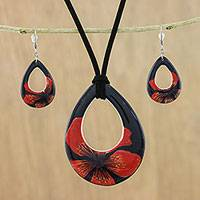 Ceramic jewelry set, 'Crimson Bloom' - Ceramic Black and Red Pendant Necklace Dangle Earrings Set