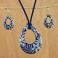 Ceramic jewelry set, 'Flying Flowers' - Ceramic Blue Floral Pendant Necklace Dangle Earrings Set