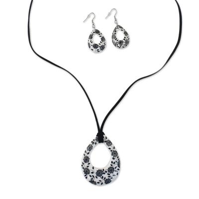 Ceramic White Floral Pendant Necklace Dangle Earrings Set