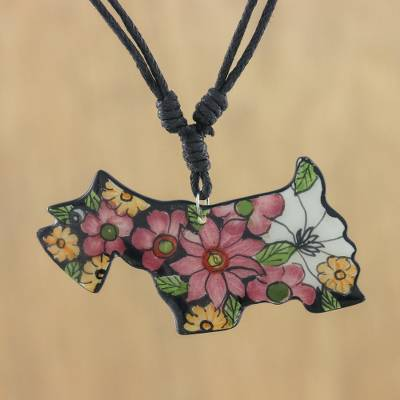 Ceramic pendant necklace, 'Yapping Yorkie' - Hand Painted Ceramic Yorkshire Terrier Pendant Necklace