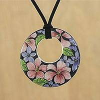 Ceramic pendant necklace, 'Jepun Blooms' - Ceramic Handmade Floral Painted Pendant Necklace