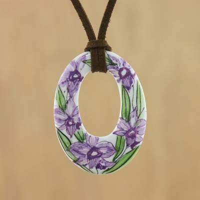 Ceramic pendant necklace, Lush Lilac