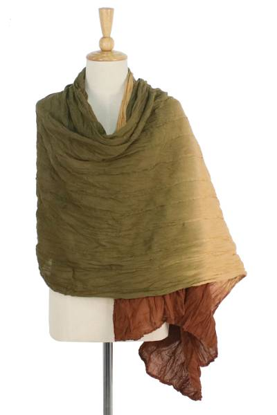 Cotton shawl, 'Cozy Grove' - Brown and Green Cotton Shawl Hand Dyed in Thailand