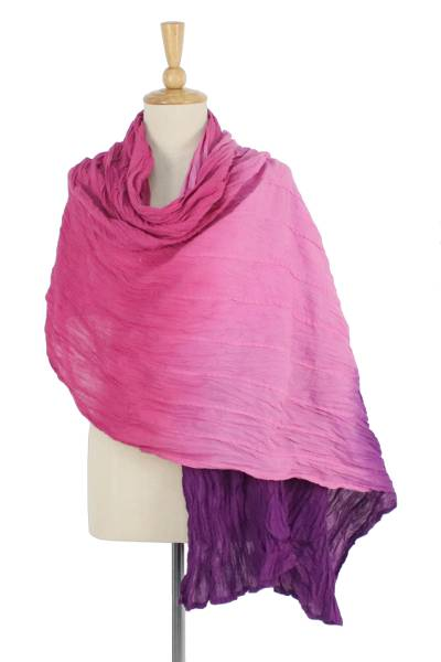 Cotton shawl, 'Ombre Passion' - Pink and Purple Cotton Shawl Hand Dyed in Thailand