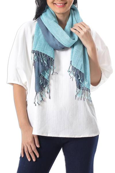 Cotton reversible scarf, 'Ocean Tones' - 100% Cotton Reversible Blue and Grey Fringed Scarf