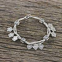 Silver beaded charm bracelet, 'Heart and Flower' - 950 Silver and Sterling Silver Flower Heart Charm Bracelet