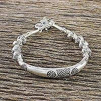 950 silver beaded bracelet, 'Harmony of Nature' - 950 Silver Floral Beaded Bracelet from Thailand