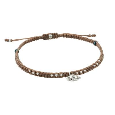 Karen Silver and Recon Turquoise Fish Charm Cord Anklet