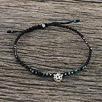 Silver beaded macrame charm anklet, 'Dreams of Blue' - Karen Silver and Reconstituted Turquoise Charm Cord Anklet