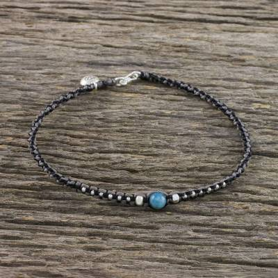 Apatite and silver beaded macrame charm anklet, 'Floral Forevermore' - Karen Silver and Apatite Flower Charm Cord Anklet