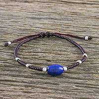 Lapis lazuli and silver beaded cord bracelet, 'Ocean of Memories' - Lapis Lazuli Silver Beaded Cord Bracelet Made in Thailand