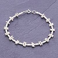 Silver beaded bracelet, 'Dots and Boxes' - Handmade Circle Rectangle 925 Sterling Karen Silver Bracelet