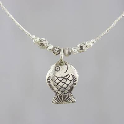 Silver pendant necklace, Shimmery Fish
