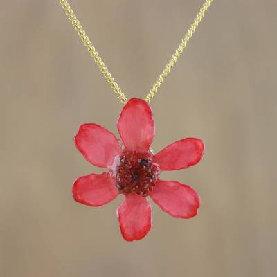 Natural flower pendant necklace, 'Zinnia Charm in Deep Pink' - 22k Gold Plated Pink Zinnia Flower Pendant from Thailand