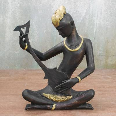Wood sculpture, 'Thai Mandolin Player' (10 inch) - Acacia Wood Sculpture of a Musician (10 inch) from Thailand