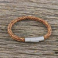 Leather wristband bracelet, 'Magical Braid in Saddle' - Light Brown Leather Braided Bracelet Crafted in Thailand
