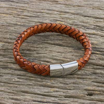 Men's leather wristband bracelet, 'Interlace' - Men's Brown Leather Braided Bracelet Crafted in Thailand