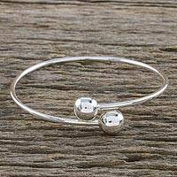 Sterling silver bangle bracelet, 'Silver Friends' - Sterling Silver Bangle Bracelet