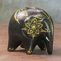 Ceramic figurine, 'Twilight Lily' - Black and Golden Floral Lily Ceramic Elephant from Thailand