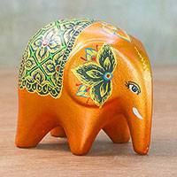 Ceramic figurine, 'Ceremonial Elephant' - Persimmon Orange Ceremonial Ceramic Elephant from Thailand