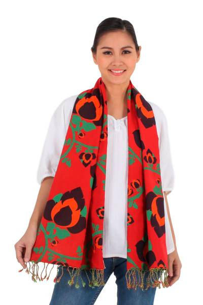 Cotton scarf, 'Radiant Sunset' - Red and Green Cotton Floral Scarf Handmade in Thailand