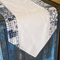 Cotton table runner, 'Simplicity in Natural' - Natural and Indigo Cotton Table Runner Handmade in Thailand