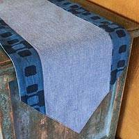 Cotton table runner, 'Contemporary in Midnight' - Blue Cotton Table Runner Handmade in Thailand
