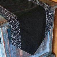 Cotton table runner, 'Simplicity in Ebony' - Black and Grey Cotton Table Runner Handmade in Thailand