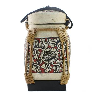 Handcrafted Floral Bamboo Decorative Jar from Thailand