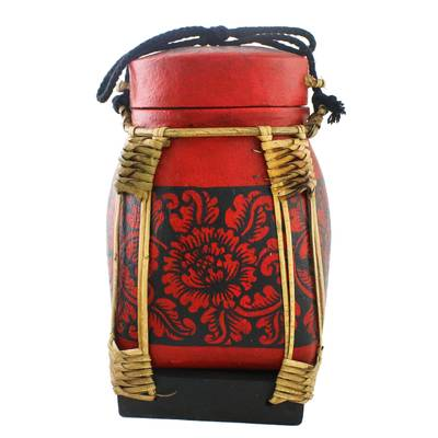 Floral Decorative Jar in Red from Thailand