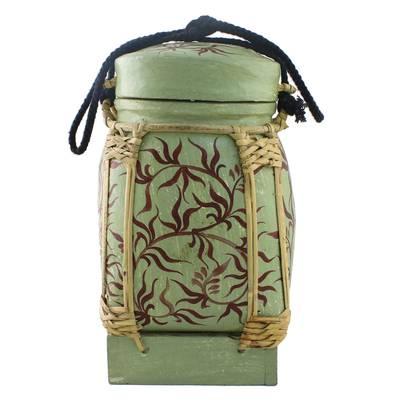 Handcrafted Decorative Jar in Sage from Thailand