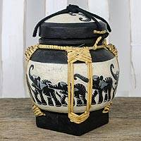 Bamboo and clay decorative jar, 'Elephant Dance in Black' - Elephant Jar in Beige and Black from Thailand